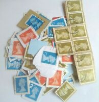 100 1st 2nd class blue red gold Machin Non-Security Stamp Franked on paper large