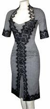 KAREN MILLEN Grey Wool Tweed Black Lace Galaxy Wiggle Pencil Dress UK 10
