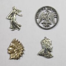 Antique Edwardian Cut Out Coin Stick Pin/Stickpin Lot - France USA Canada Mexico