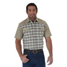 WRANGLER Mens - Short Sleeve Western Shirt - 2XL - TAN PLAID - MS381TM
