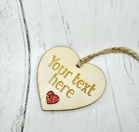 YOUR TEXT Personalised Wooden Engraved Heart Gift Valentine's Boy Girl Love
