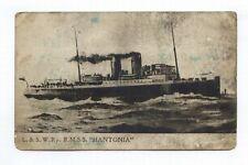 L.& S. W.Ry. R.M.S.S. HANTONIA - Tozer's Postcard - pencil dated on rear 1922