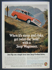 1966 Jeep Wagoneer 4WD red truck dirt road photo vintage print Ad