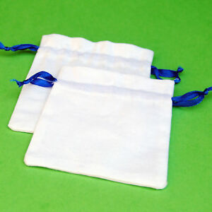 25 PCS  Blue Drawstring Cotton Pouch Gift Bags Small Bag Jewelry Pouches 3x3""