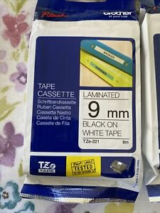 Brother P Touch Tape Original TZe-221 9mm Black on White Laminated