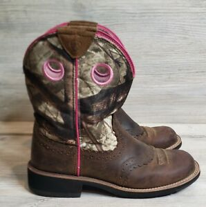 ARIAT Fatbaby 10006854 Pink Camo Cowgirl Cowboy Boots Women's Size 8.5 B Western