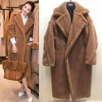 FA1 Luxury Women Teddy Bear Feel Oversized Faux fur long coat runway plus size