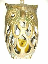 Vintage Brass Owl Votive Candle Holder Lantern for home for Garden / Home decor