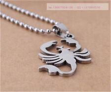 Scorpion Womens Men's Silver 316L Stainless Steel Titanium Pendant Necklace