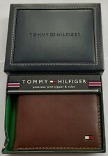 GENUINE Tommy Hilfiger Mens Leather Logan Bifold Wallet with Zipper TAN