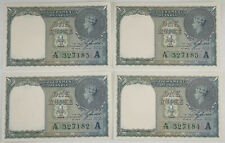 Four (4) British India 1940 (Nd) 1 Rupee Pick #25d Crisp Unc Consecutive Numbers