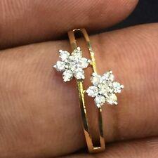 0,24 Carats Ronde Brillante Couper Naturel Diamants Mariage Bague En 750 18K Or