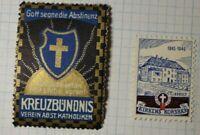 God Bless Abstinence Volan Cross Assn St Catholics WW Charity Seal Poster Stamp