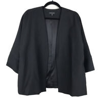 Eileen Fisher Woman Black Textured Cotton Nylon 3/4 Sleeve Jacket Size Medium