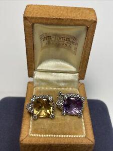 Lot Of Two Judith Ripka Sterling Silver Single Earrings- Amethyst & Citrine
