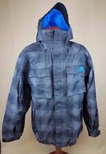 The North Face Men's Large Jacket Coat Grey Blue Hooded Nylon Zip Pockets EUC