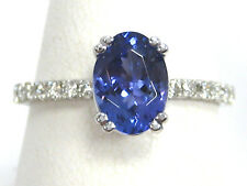 Tanzanite Ring 14K White Gold French Pave Solitaire Heirloom AAA 1.48ct $2,897