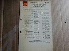 WOLSELEY 16/60 SHELL LUBRICATION CHART SERVICE GUIDE X926