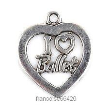 3 pcs BRELOQUE CHARM PERLE / COEUR I LOVE BALLET / CREATION BIJOU BRACELET #B705
