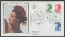 FRANCE FDC - 2219 2220 2221 1 LIBERTE - 1 Juin 1982 - LUXE sur soie
