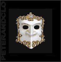 Maschera Di Venezia Bauta Barocco Argentato E Bianco Autentica Veneziano 534