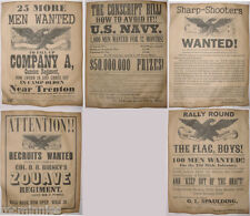 5 Civil War Recruiting Posters, Sharpshooters, Zouave, Michigan, NJ, Navy, more