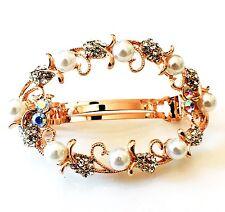 USA BARRETTE Rhinestone Crystal Hair Clip Hairpin Bridal Wedding Pearl Gold F37
