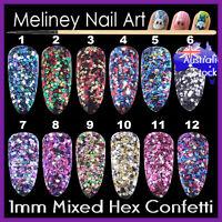 1mm Mixed Hexagon Glitter Confetti Nail Art Decoration Shape Manicure party