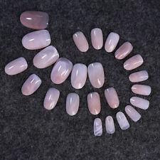 Nail Art 24pcs Pink Color False Nails Gift Marble lines round head Short Acrylic