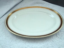 SMALL OVAL MINTON PLATTER WITH GOLD COLOURED TRIM & BLACK  GREEK KEY OVERLAID