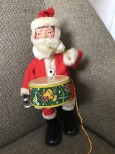 VINTAGE SANTA CLAUS  TIN LITHO REMOTE BATTERY OPERATED LIGHTS PLAYS DRUM