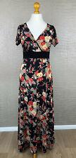 HEINE Damen Gr. 40 Stretch Slinky Jersey Maxikleid Blumen schwarz rot Dress 406