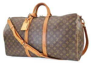 Auth LOUIS VUITTON Keepall Bandouliere 55 Monogram Canvas Duffel Bag #39910