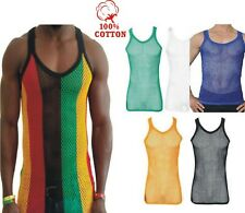 Mens Rasta String Vest Stripe Mesh Tank Top Reggae White Black Blue XL Gym Net