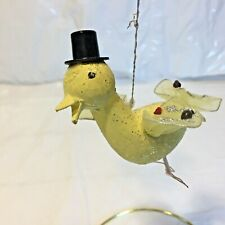 Vtg Mcm Easter Chick Duck w Top Hat Tulle Wings Tail Mica Glitter Paper Mache