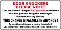 NO DOOR KNOCKERS FUNNY DOOR KNOCKER STICKER NO HAWKERS DOOR SIGN