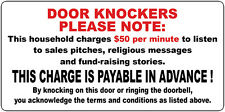 NO DOOR KNOCKERS FUNNY DOOR KNOCKER STICKER NO HAWKERS DOOR SIGN