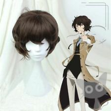 Bungo Stray Dogs Dazai Osamu Short Brown Curly Resistent Cosplay Synthetic Wigs