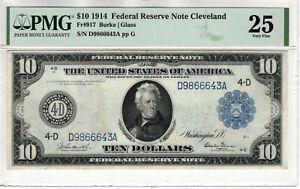1914 $10 FEDERAL RESERVE NOTE CLEVELAND FR.917 BURKE GLASS PMG VERY FINE VF 25