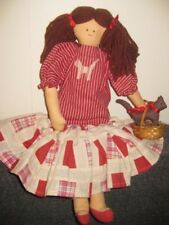 "Vintage Handmade Rag Doll 16"" Tall with Yarn Pigtails and Cat in a Basket"