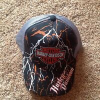Harley-Davidson Men's Embroidered Gray & Black Bar&Shield Mesh Baseball Cap Hat