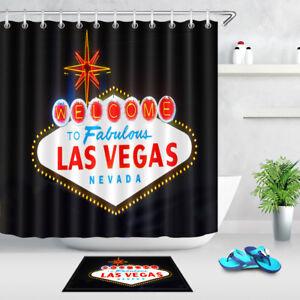 "Welcome To Las Vegas Sign 72"" Bathroom Waterproof Fabric Shower Curtain Set Hook"