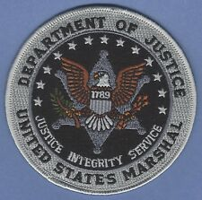 """SUBDUED UNITED STATES MARSHAL DOJ POLICE PATCH 4"""" GRAY/NAVY BLUE"""