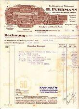 Litho Rechnung H. Fuhrmann Dampf - Destillation Wittenberg Bez Halle 1933 ! (D1