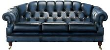 Chesterfield Victoria 3 Seater Antique Blue Leather Sofa Settee