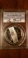 George H. W. Bush Signed 1992-W White House Silver Dollar  PR69DCAM autographed