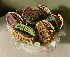 Flourish By Enesco Llc 11 Wooden Multi Color 'Puzzle' Easter Egg Decorations Nwt