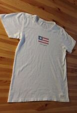 LIFE IS GOOD Women's Size S AMERICAN FLAG T SHIRT White Small USA 4th July Tee