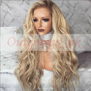 100% Peruvian Real Human Hair Wig Ombre Balayage Blonde Wavy Remy Lace Front Wig