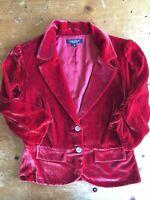 NWT KAREN KANE Tuscan Sunrise Red Velvet 3/4 Jacket Size 6 MSRP $198 B17